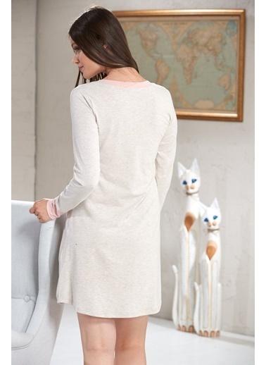 Sevim Baskılı Kadın Uzun Kol Tunik Bej